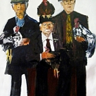 Poultry fanciers (Oil on hard board 100 x 130cm)
