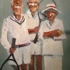 Three men and their balls (Oil on hardboard 100 x 130cm)