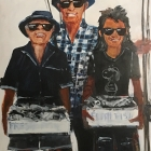 Three men and their mullets (Oil on hard board 100 x 130cm)