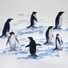 Painting of Adelie penguins on iceberg floating past ship