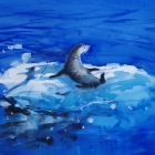 Painting of Leopard seal on iceberg passing ship