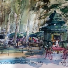 Painting of Matriz Plaza Montevideo (pen and wash)