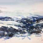 Mt Loch from Mt Hotham (WC, 74 x 55cm) SOLD