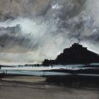 Approaching Storm St Michaels Mount, UK. (WC, en plein air 74x54cm)