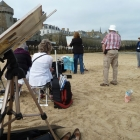 The group watching the demonstration from St Malo