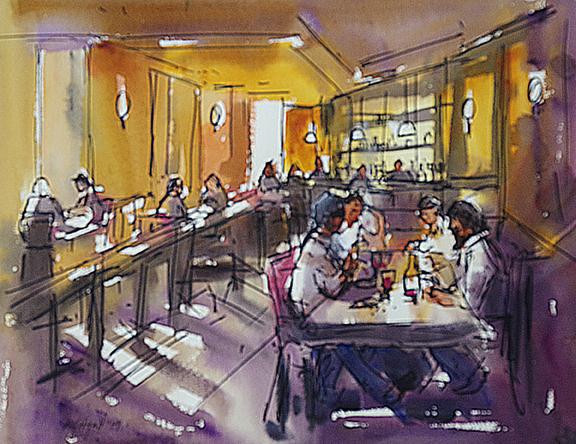 Lygon St Cafe (Pen & Wash 30x28cm)