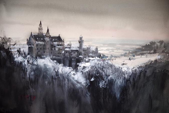 Neuschwanstein Castle Germany Winter (WC 60x50cm)_edited-1