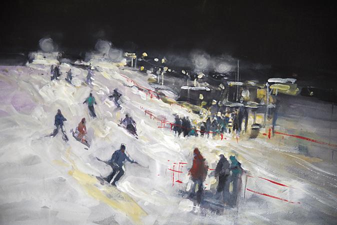 Night Skiing at the Big D Mt Hotham (WC 60x58cm)
