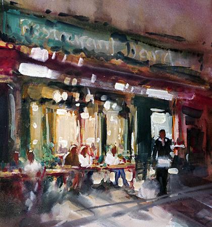 Parisian Cafe (WC 30x30cm)