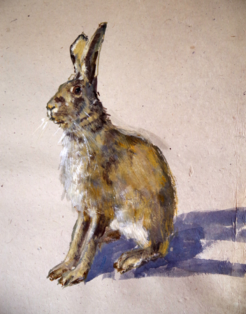 The Hare (WC 42x60cm on Lokta rice paper)