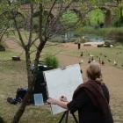 Amanda painting at Richmond