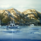 Demonstration painting of the Hazards Coles Bay