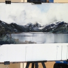 Demonstration painting of Cradle Mountain and Dove lake (from image taken by AJH in snow & sleet)