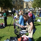 The group painting at Bourton-on-the-Water