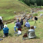 Group watching the demonstration at the Cascades