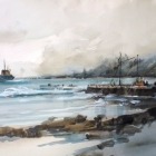 Painting of freighter anchored off Kingston Pier