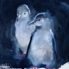 Painting of Magellanic Penguin chicks Falkland Islands