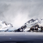 Painting of Antarctic Sound in grey weather
