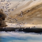Painting of chinstrap penguins