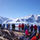 Passengers on a perfect day in Antarctica
