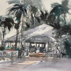 Pen-and-wash-of-cafe-at-Trinity-Beach