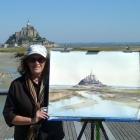 Amanda painting Mont Saint Michel