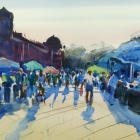 Painting of saturday market