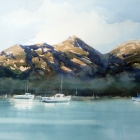Painting of the Hazards Coles Bay