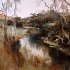 The-Moorabool-River-at-Russells-Bridge-WC-37x-54cm